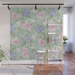 Flower Play Pink Lavender Green Antique Look Wall Mural