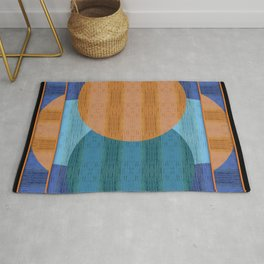 Orange Blues Geometric Shapes Rug