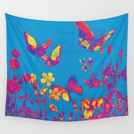 Blue Butterflies & Flowers Wall Tapestry