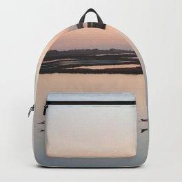 Arial Photography: Beautiful Pink Sunset Beach - Flamingo Birds Backpack