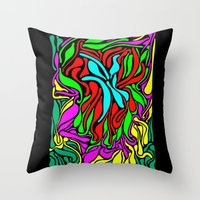 supreme Throw Pillows featuring Lava Supreme by clawsalina