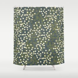 Dots and Rings-Grey Shower Curtain