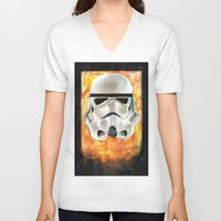 stormtrooper V-neck T-shirts featuring Stormtrooper by Mishel Robinadeh