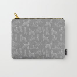 Afghan Hounds on Grey Background Carry-All Pouch