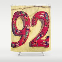 number Shower Curtains featuring door number by gzm_guvenc