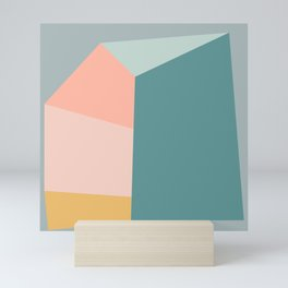 Abstract Geometric Shapes in Minty Pastels Mini Art Print