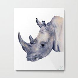 Rhino Watercolor Painting Metal Print