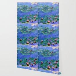 Claude Monet Waterlilies Red Wallpaper