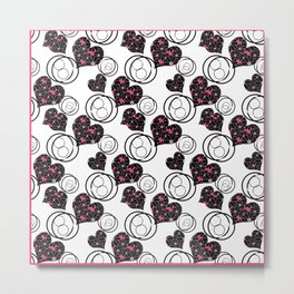 Love. Abstract floral pattern with hearts . Metal Print