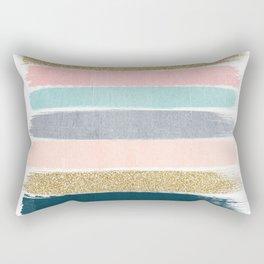 Zara - minimal gold navy pink pastel stripes painterly boho decor trendy gifts Rectangular Pillow