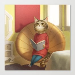 A cat reading a book Canvas Print