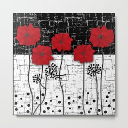 Retro. Red poppies on white background sulfur. Applique. Metal Print