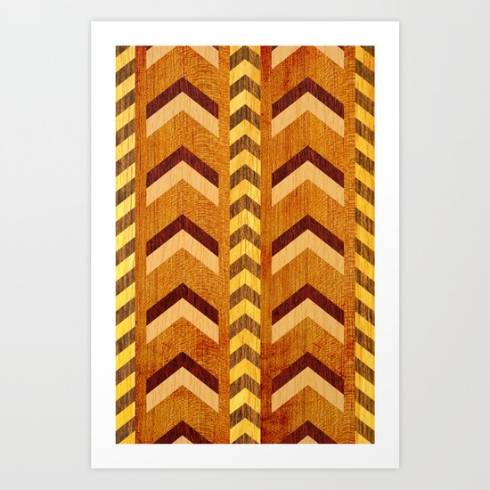 Wood Inlaid Chevrons Art Print