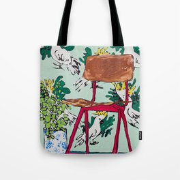 School Chair and Mint Cockatoo Wallpaper Tote Bag