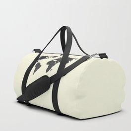 The Classic World Map - Chalkboard Black on Cream Linen Duffle Bag