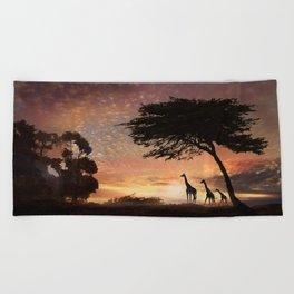 Purple Safari Sunset- giraffe family Beach Towel