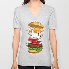Hamburger Cat Unisex V-Neck