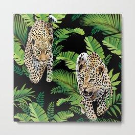 Leopard jungle pattern Metal Print