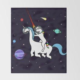Unicorn Riding Dinocorn In Space Throw Blanket