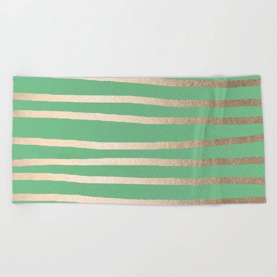 Abstract Drawn Stripes Gold Tropical Green Beach Towel