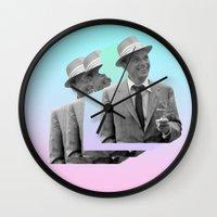frank sinatra Wall Clocks featuring frank by sebastian kainey