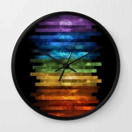 Seven Chakras on Nebula Stripes Wall Clock