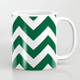 Forest green (traditional) - green color - Zigzag Chevron Pattern Coffee Mug