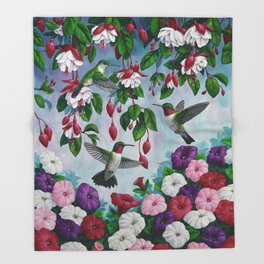 Hummingbirds in Fuchsia Flower Garden Throw Blanket
