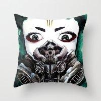 cyberpunk Throw Pillows featuring Cyberpunk Kyoshi Warrior by SmidgenSpunks