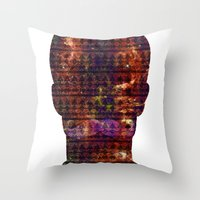 louis armstrong Throw Pillows featuring Armstrong by Red 99