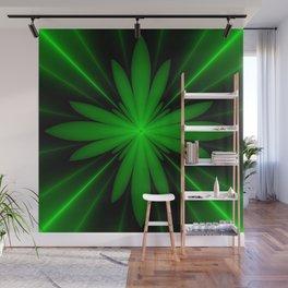 Neon Green Flower Fractal Wall Mural