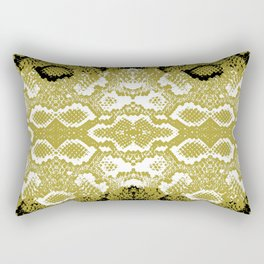 Snake skin scales texture. Seamless pattern black yellow gold white background. simple ornament Rectangular Pillow