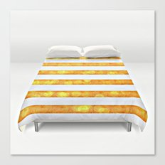 Golden Glitter Girly - Chic Stripes - Duvet Cover - Decor - Tech Canvas Print