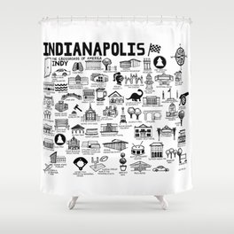 Indianapolis Indiana Map Shower Curtain