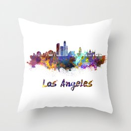 Los Angeles skyline in watercolor Throw Pillow