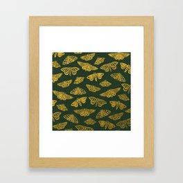 Golden Moths in Green Framed Art Print
