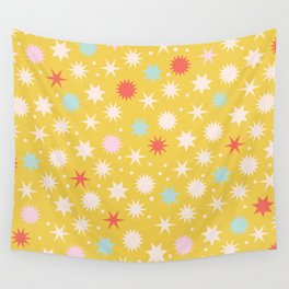 Vintage Christmas Wrapping Paper Pattern Design Mustard Stars & Dots Wall Tapestry