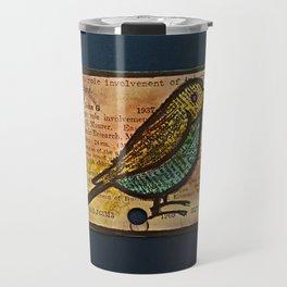 bird and a library catalogue card 2 Travel Mug