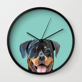Rottweiler pet portrait dog breed gifts for pure breed dog lovers Wall Clock
