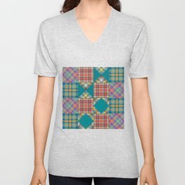 Patchwork Quilt Quilting Crafting Hobby Pattern Gift Unisex V-Neck