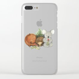 Native Australian Animal Babies – With Koala, Wombat And Echidna Clear iPhone Case