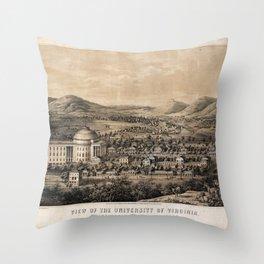University of Virginia, Charlottesville & Monticello (1856) Throw Pillow