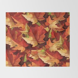 Autumn Leaves Abstract - Painterly Throw Blanket