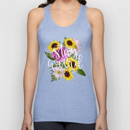 Stay Weird in Flowers // Hand Lettering Unisex Tank Top