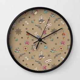Sailor Tattoo Pattern Wall Clock