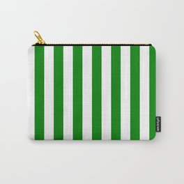 Narrow Vertical Stripes - White and Green Carry-All Pouch