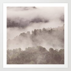 Foggy morning. Adventure at the mountains Art Print