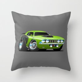 Classic Seventies Style American Muscle Car Cartoon Throw Pillow