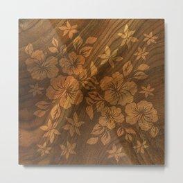 Lilikoi Hibiscus Hawaiian Textural Pareau Design Metal Print