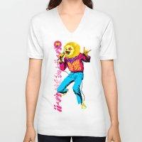 pomeranian V-neck T-shirts featuring Pomeranian Rock Dogs - Beware by Butcher Billy